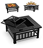 GOOGNICE Fire Pit Outdoor Fire Pits with Heat-Resistant Coating Iron Tabletop Outdoor Wood Burning with Spark Screen Cover and Poker