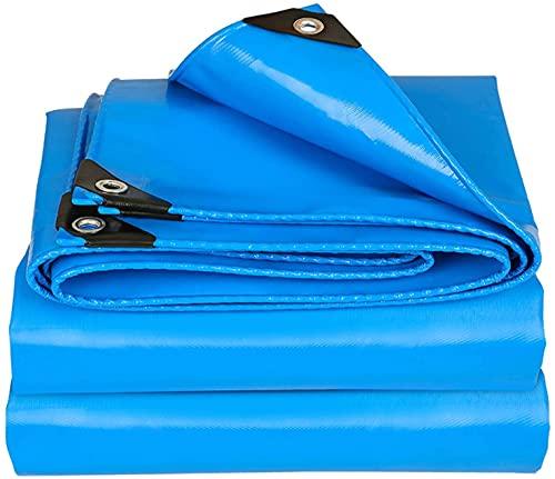 MVNZXL Abdeckplanen,Blaue Mehrzweck-Planenüberdachung, strapazierfähige wasserdichte PVC-Plane mit Säumen und Ösen, für Zeltboot-Pool-Trailer und...