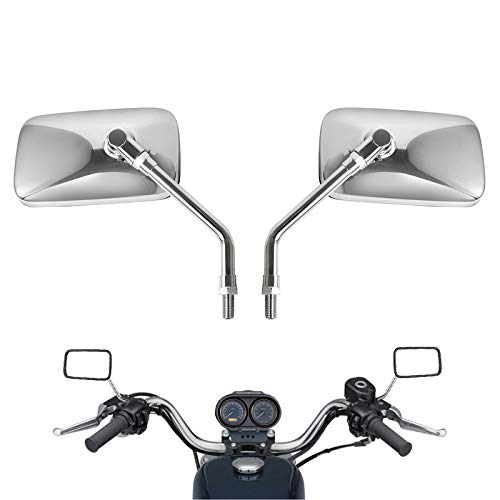 10 mm Bolt Chrome Motorcycle Universal Handlebar Rear view Side Mirrors for Aprilia Honda Kawasaki Suzuki Cruiser Scooter Mirror SIZE:125mm X 70mm