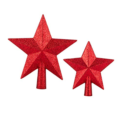 N/P ZHONQ Christmas Tree Top Decorations Star for Christmas Tree Topper Ornament Stars Glitter Small Red Star for Holiday Party, 2Pcs /(4.7'+ 5.9' )