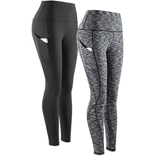 COSCOOL Women's Yoga pants with Pockets, High Waist Tummy Control Workout Running Yoga Leggings for Women