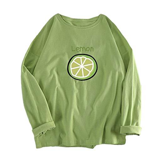 [ジーティアモ] かわいい レモン ワンポイント 長袖 ロング T シャツ レディース トップス カットソー プルオーバー ろんてぃー ロンT 白 しろ ホワイト 緑 みどり グリーン カワイイ 可愛い おしゃれ オシャレ お洒落 春 はる しゃつ シャツ