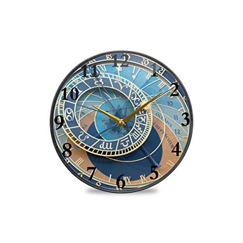 Bardic Vintage Old Town quadratisch mit astronomischer Uhr, runde Wanduhr, dekorative Uhr, moderne Uhr, batteriebetrieben, geeignet für Esszimmer, Küche, Büro, Klassenzimmer, plastik, multi, 9.5x9.5in