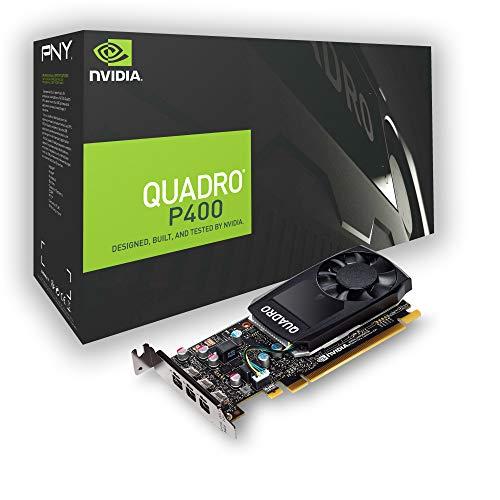PNY nVidia Quadro P400 Scheda Grafica da 2 GB, 256 Cuda Core, Adattatori DVI, Nero