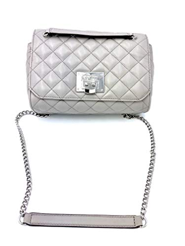 "Quilted soft leather Shoulder bag w/ chains & leather strap Silver tone hardware Michael Kors logo Foldlock flap closure 9.5"" (L) x 6.5"" (H) x 3"" (D"