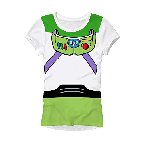 Disney Pixar Buzz Lightyear Costume Juniors T-Shirt … (Medium, White)
