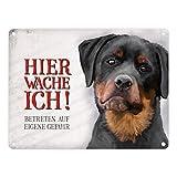Metallschild mit Rottweiler Motiv und Spruch: Betreten auf