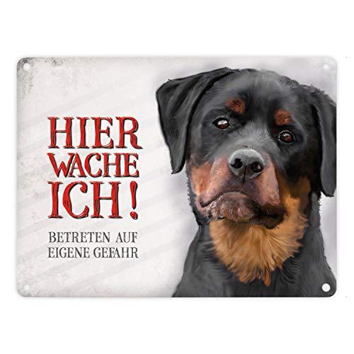 Metallschild mit Rottweiler Motiv und Spruch: Betreten auf eigene Gefahr - Hier wache ich!