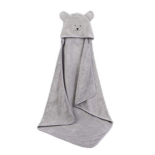 Xiaobing Poncho para bebé Toalla de baño Terciopelo 90 * 90cm Turbante para bebé Toalla de baño para bebé Funda para manta-gris-90x90cm