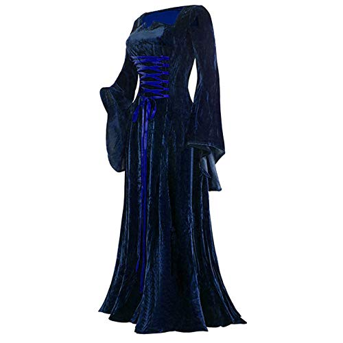 Routinfly Damen Kleider,Tshirt Kleid,Bodycon lässige Kleider Partykleid,Sommerkleider,Langes Kleid für Damen Vintage Langarm Bodenlanges Kleid Elegantes Elfenkleid