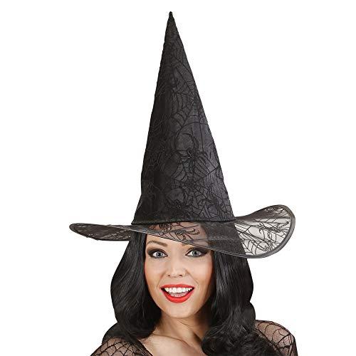 Widmann 9426 F ? Chapeau de Sorcière avec tricot à toile d'araignée et paillettes en taille unique