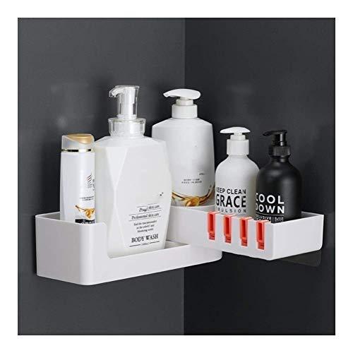 YLKCU Carrito de plástico para baño, Ducha giratoria, estantes de Pared para Almacenamiento, Cesta, Organizador de baño para champú y acondicionador sin taladrar 0112 (Color: Naranja)