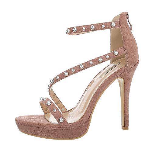 Ital-Design Damenschuhe Sandalen & Sandaletten High Heel Sandaletten Synthetik Altrosa Gr. 39