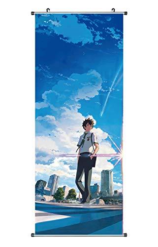 CoolChange Großes Your Name Rollbild | Kakemono aus Stoff | Poster 100x40cm | Motiv: Taki Tachibana