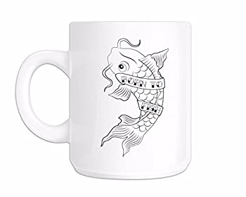 Fish Mug Fishing Coffee Mug Gifts for Fisherman Born to Fish Tattoo Teacup