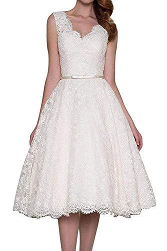 JAEDEN Robe de Mariage Robes de mariée Court Robes de Bal Robes de soirée Dentelle V-Cou Blanc EUR40