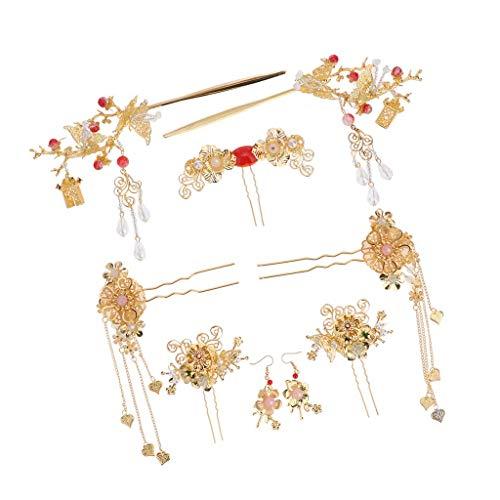 YEESEU Chinesische Hochzeit Haar-Kamm-Haar-Krone Braut Quaste Hairpin Haarschmuck for die Braut Hochzeitsdeko Mädchengeschenk