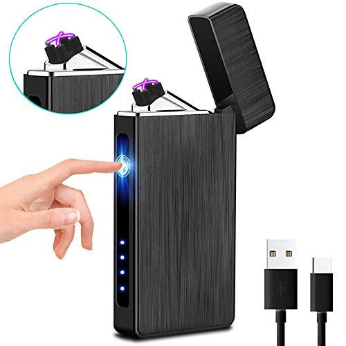 XIMU Accendino Elettrico, USB Accendino Plasma Ricaricabile Antivento & Senza Fiamma, Accendino Dual Arco con Indicatore della Batteria per Candele/Sigarette/Cucina/Grill (Nero)
