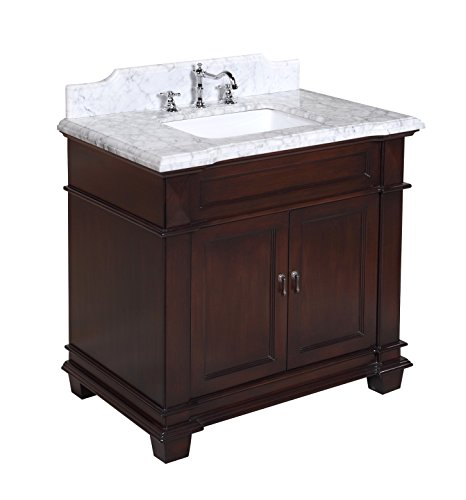 Kitchen Bath Collection KBC5936BRCARR Elizabeth Bathroom Vanity with Marble Countertop, Cabinet with Soft Close Function and Undermount Ceramic Sink, Carrara/Chocolate, 36