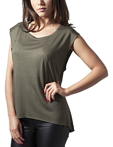 Urban Classics Ladies Shoulder Zip Hilo Tee T-Shirt, Verde (Olive 176), S Donna