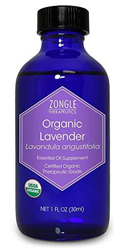Zongle USDA Certified Organic Lavender Essential Oil, Bulgarian, Safe To Ingest, Lavandula Angustifolia, 1 OZ