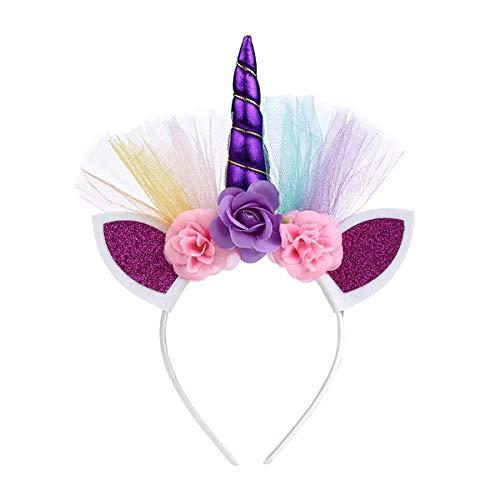 AIUIN Serre-Tête Licorne avec Fleurs, Bandeaux de Licorne, Licorne Corne Bandeau 3 style gland de fleur pour Anniversaire Fête Cosplay Célébration Party Festivals (Pourpre2)