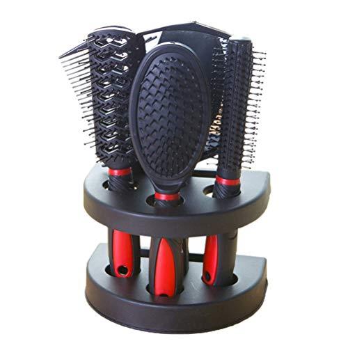 5 pcs Professionnel Salon De Coiffure Peigne Et Miroir Kits Salon Barber Peigne Brosses Anti-statique Brosse À Cheveux Soins Des Cheveux Styling (Rouge)