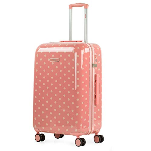 SKPAT - Maleta de Viaje Mediana Grande Juvenil Rígida y Ligera con 4 Ruedas 360 Grados. Cierre Candado con Combinación con Seguridad TSA. 132360, Color Coral