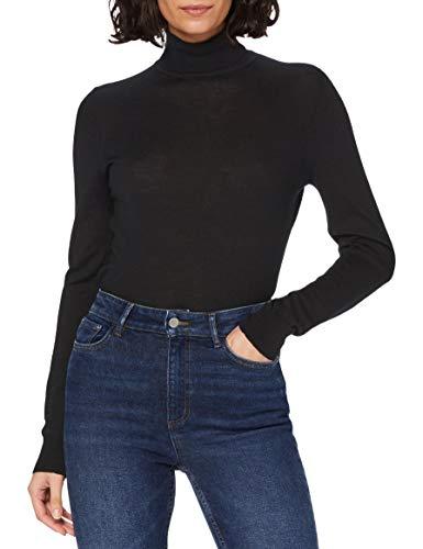 Marca Amazon - MERAKI Jersey de Merino Mujer Cuello Alto, Negro (Black), 46, Label: XXL