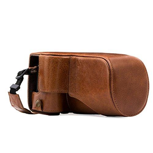 MegaGear Estuche Ever Ready, Funda de Pronto Uso de Cuero auténtico, con Correa Compatible con Canon EOS M6 (18-150 mm)