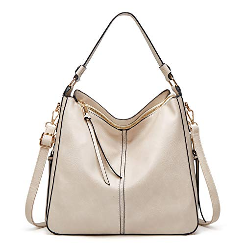 Women Handbags Fashion Hobo Bags- Faux Leather Long Strap Large Shoulder Bag -Ladies Synthetic Medium Size Tote Bag Crossbody Bags for Women(White)