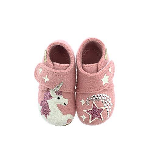 Living Kitzbühel Baby-Mädchen Babyklettschuh Einhorn & Stern Hausschuh, Ash Rose, 23 EU