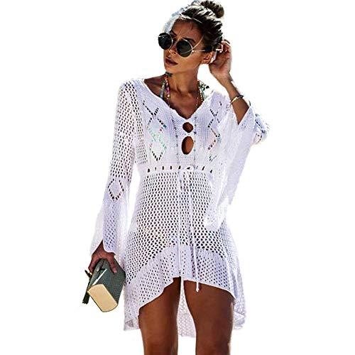 Saherewanr Women Swimsuit Cover Up Dress Lace Long Bathing Kimono Beach-wear Mini Crochet Stripe Cardigan White Tassel Skirt (Belt)