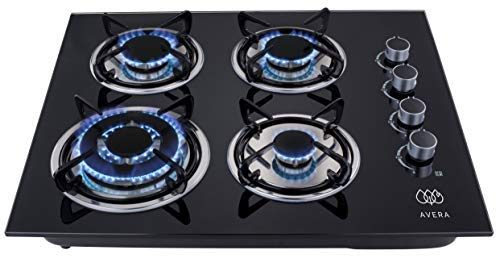 AVERA VT4 Parrilla a gas de Empotrar con 4 Quemadores en Vidrio Templado, color Negro. Estufa para…