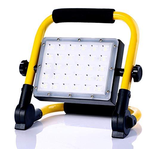 MOZC Baustrahler LED 3500LM 30W Arbeitsleuchte, IP65 Wasserdichte Flutlichter Eingebauter Akku, für Draußen und Drinnen, für Werkstatt Baustelle Garage Hof Garten, 6000K Tageslichtweiß (30 LEDs)