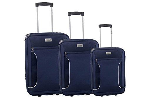 Set valigie trolley 3 pezzi semirigido PIERRE CARDIN blu da viaggio S246