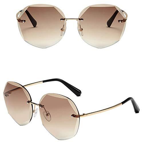 Ashtray Gafas de Sol graduadas para Mujer, Gafas de Sol sin Montura de Metal con Bordes Cortados, adecuadas para Conducir, Correr, Andar en Bicicleta, Viajar, etc,6