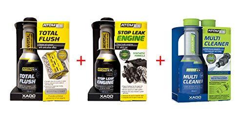 Kit de 3 produits Xado Atomex - Nettoyant pour système d'alimentation Multi Cleaner Essence - Nettoyant pour segments de piston Total Flush - Anti fuite huile moteur Stop Leak Engine