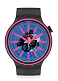 Swatch BIG BOLD Swiss Quartz Silicone Strap, Black, 24 Casual Watch (Model: SO27B111)