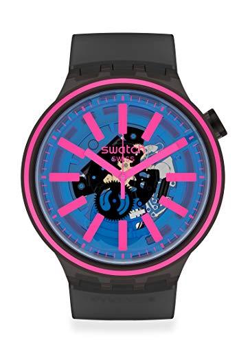 Swatch BIG BOLD Swiss Quartz Silicone Strap, Black, 24 Casual Watch (Model: SO27B111)