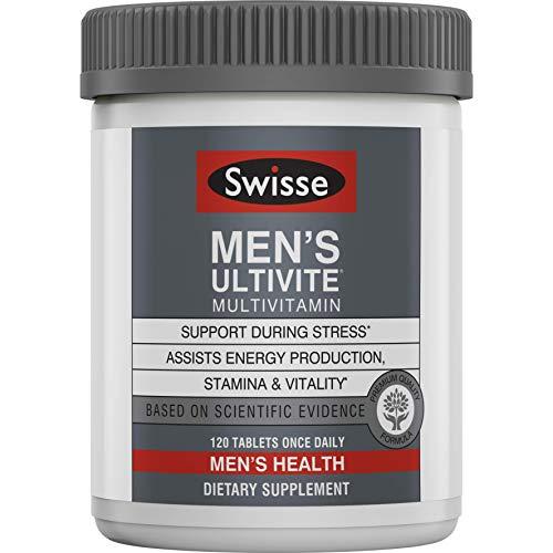 Swisse Premium Ultivite Daily Multivitamin for Men | Energy & Stress Support, Rich in Antioxidant & Minerals | Vitamin A, Vitamin C, Vitamin D, Biotin, Calcium, Zinc & More | 120 Count Tablets
