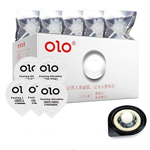 Ultradünnes Kondome mit Hyaluronsäure Geschmiertes 5 eingebauten Silikon Weichperlen für G-Punkt stimulieren Kondom 5er Pack (5)