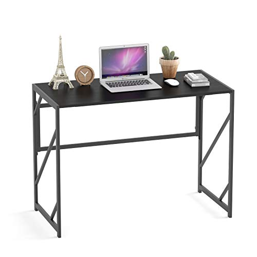 Elephance Folding Desk Writing Computer Desk for Home Office, No-Assembly Study Office Desk Foldable Table for Small Spaces