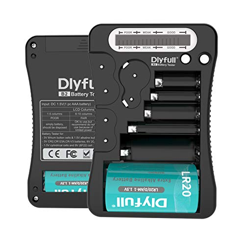 Battery Tester, Dlyfull LCD Display Universal Battery Checker for AA AAA C D 9V CR2032 CR123A CR2 CRV3 2CR5 CRP2 1.5V/3V Button Cell Batteries, 1x AAA Batteries Included