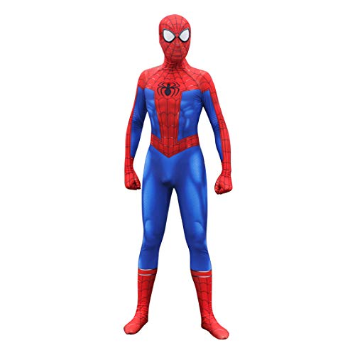 Unisex Lycra Spandex Zentai Halloween Into The Spideverse Cosplay Costumes Suit Adult/Kids 3D Style (Adults-XXL Blue