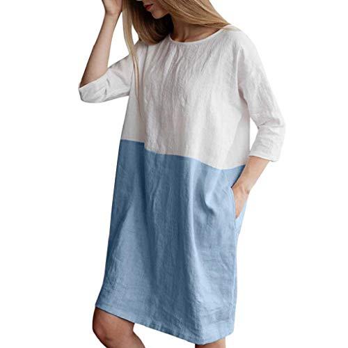 SHOBDW Damen Sommer Mode 1/2 Arm Große Größe Lose T Shirt Bluse Frauen Stilvoll Einfachheit Einfarbig Patchwork Lang Tops Minikleid mit Taschen Baumwolle Leinen Sommerkleid Bluse