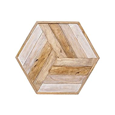 Witty Woods Premium Hexagon Wooden Tray For Coffee and Drinks Table - Made up of Mango Wood - Antique Finish - Luxury Gifting Product