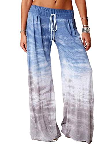 Ropa Casual para Mujer Pantalones Deportivos De Pierna Ancha De Yoga con Estampado De Color Degradado Suelto