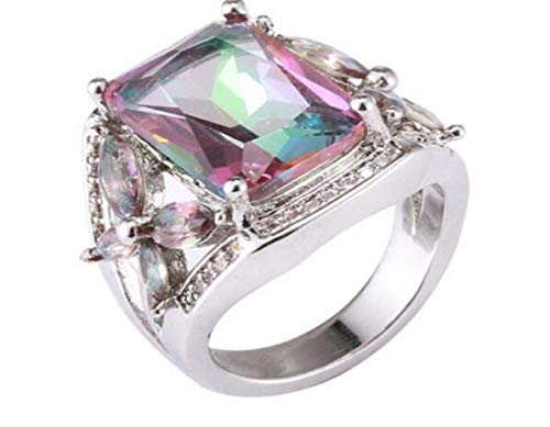 RQZQ Ring Kleurrijke steen paard oog zirkoon trouwring voor vrouwen 925 zilver micro-intarsia simulatie regenboog sieraden ring verlovingsring
