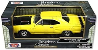 Motor Max New 1:24 W/B American Classics Collection - Yellow 1969 Dodge Coronet Super BEE Diecast Model Car